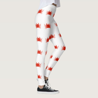 Red Dungeness Crabs Pattern Leggings