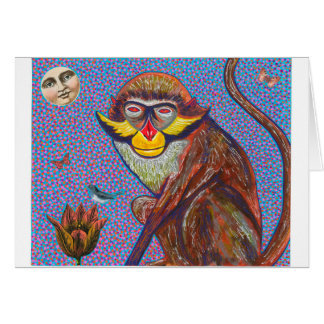 red Eared Monkey Greeting Card