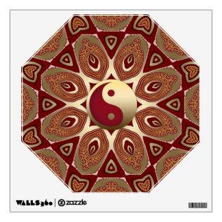 Red Earth Gold Yin Yang Feng Shui Hexagon Mandala Wall Decal