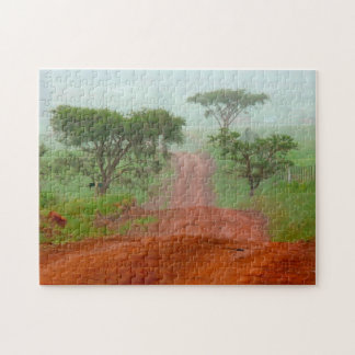 Red Earth Road Veldt Mist South Africa. Jigsaw Puzzle