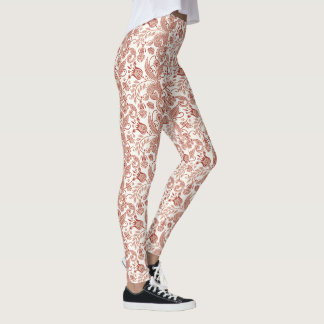 Red East Indian Floral Vine Design Leggings