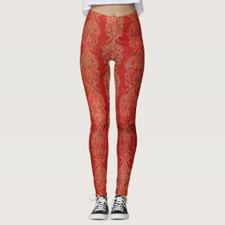 Red East Indian Print Design Legging