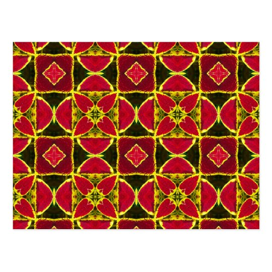 red eastern folklore fabric pattern postcard