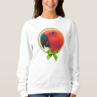 Red eclectus parrot realistic painting sweatshirt