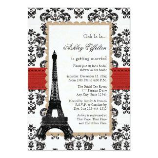 "Red Eiffel Tower Parisian Bridal Shower 5"" X 7"" Invitation Card"