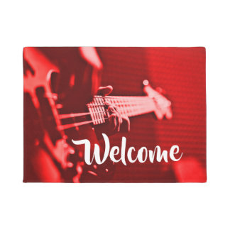 Red Electric Bass Guitar Player Doormat