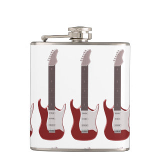 Red Electric Guitar Design Hip Flask