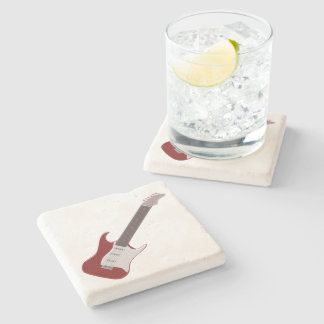 Red Electric Guitar Design Stone Coaster