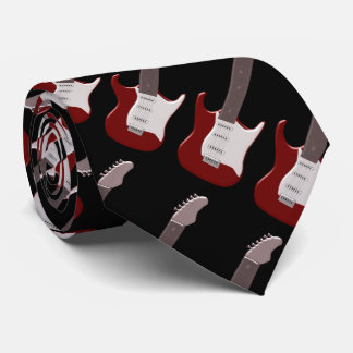 Red Electric Guitar Design Tie
