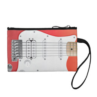 Red Electric Guitar Key Coin Clutch Coin Purses
