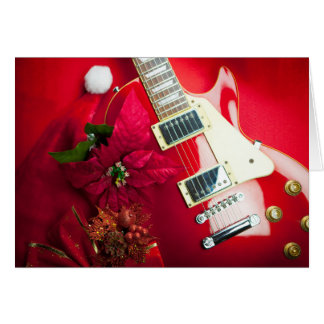 Red Electric Guitar With Christmas Ornaments Card