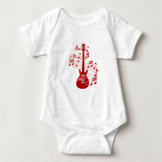 Red Electric Guitar With Music Notes Baby Bodysuit