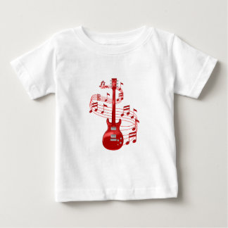 Red Electric Guitar With Music Notes Baby T-Shirt