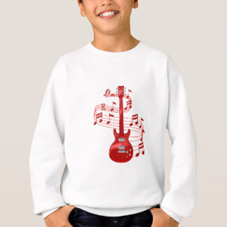 Red Electric Guitar With Music Notes Sweatshirt