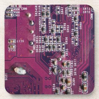Red Electronic Circuit Board Coaster