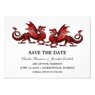 Red Elegant Dragons Save the Date Invite