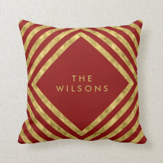 Red Elegant Name Geometric Square Lines Pattern Throw Pillow