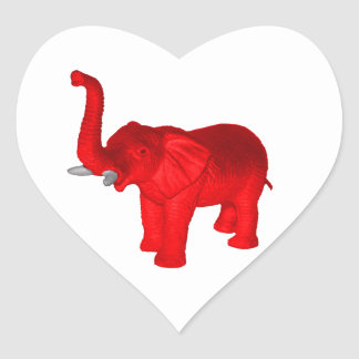 Red Elephant Heart Sticker