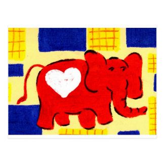 Red Elephant Love Postcard