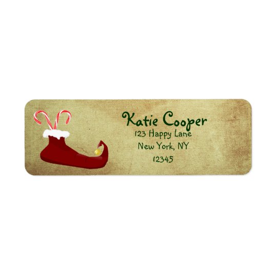 Red Elf Slipper with Candy Canes Return Address Label