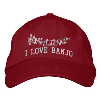 Red Embroidered I Love Banjo Hat