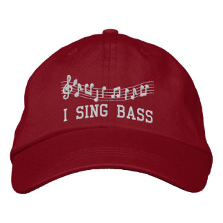 Red Embroidered I Sing Bass Music Hat Baseball Cap