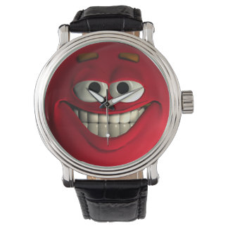 Red Emoticon With White Teeth Wristwatch