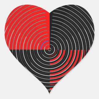Red Energy Chakra - Silver n Black Streaks Heart Sticker
