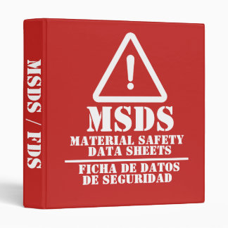 Red English and Spanish MSDS / FDS 3 Ring Binder