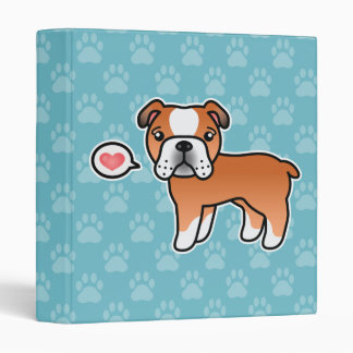 Red English Bulldog Dog With A Pink Heart 3 Ring Binders