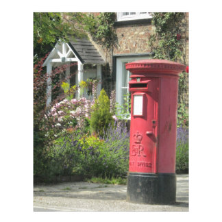 Red English Post Box, Bishopthorpe, York, UK Letterhead Template