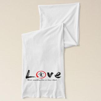Red enso zen circle, black symbol for love scarf
