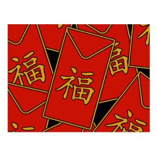 Red Envelope Motif Postcard