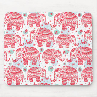 Red Ethnic Elephant Pattern Mouse Pad