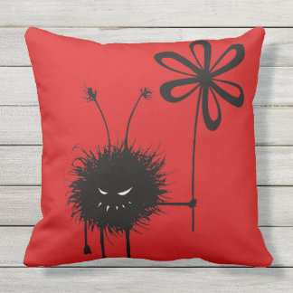 Red Evil Flower Bug Gothic Throw Pillow