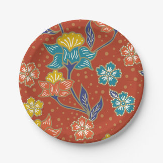 Red exotic Indonesian floral batik pattern 7 Inch Paper Plate