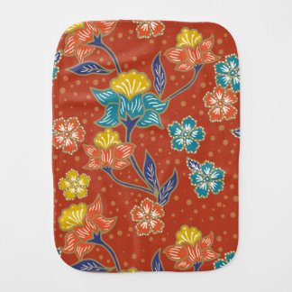 Red exotic Indonesian floral batik pattern Burp Cloth