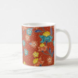 Red exotic Indonesian floral batik pattern Coffee Mug