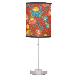Red exotic Indonesian floral batik pattern Desk Lamp