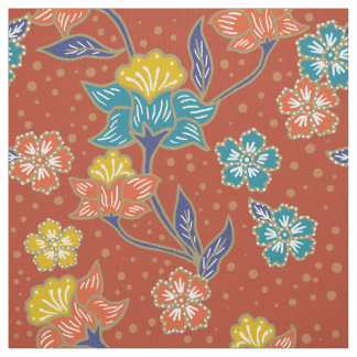 Red exotic Indonesian floral batik pattern Fabric