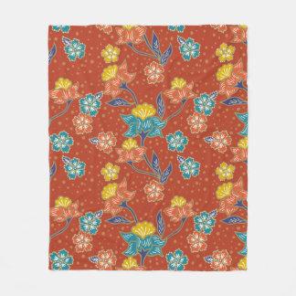 Red exotic Indonesian floral batik pattern Fleece Blanket