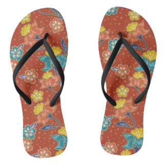 Red exotic Indonesian floral batik pattern Flip Flops