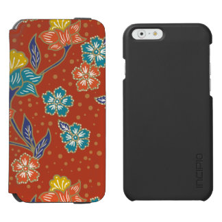 Red exotic Indonesian floral batik pattern Incipio Watson™ iPhone 6 Wallet Case