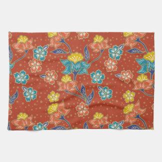 Red exotic Indonesian floral batik pattern Kitchen Towel