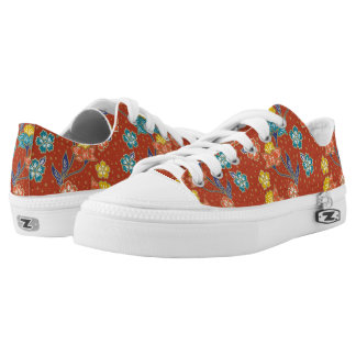 Red exotic Indonesian floral batik pattern Low-Top Sneakers