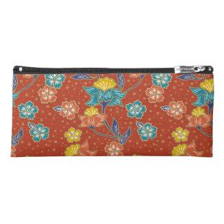 Red exotic Indonesian floral batik pattern Pencil Case
