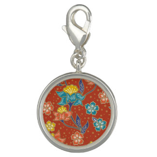 Red exotic Indonesian floral batik pattern Photo Charms