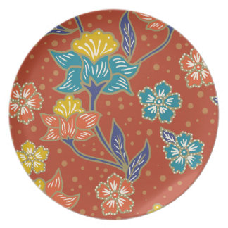 Red exotic Indonesian floral batik pattern Plates