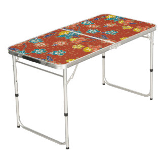 Red exotic Indonesian floral batik pattern Pong Table