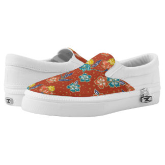 Red exotic Indonesian floral batik pattern Slip-On Sneakers